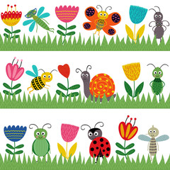Naklejka Do przedszkola set of isolated borders with funny insect - vector illustration, eps