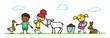 canvas print picture - Kinder streicheln Tiere im Streichelzoo