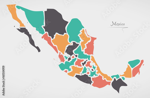 Mexican Map with states and modern round shapes – kaufen Sie diese ...