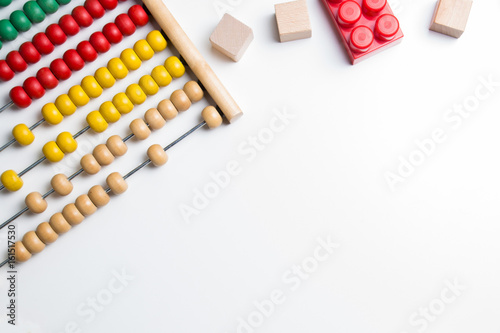 Photo Colorful abacus kids toy on white background