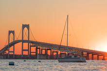 Sunset Over Newport Bridge In ...