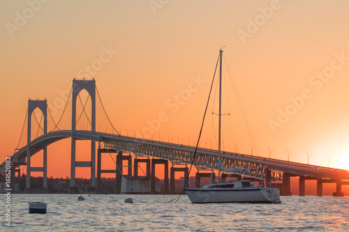 Sunset over Newport Bridge in Newport, Rhode Island Canvas Print