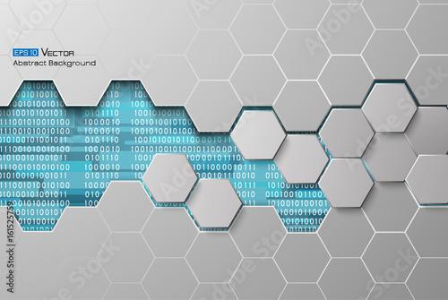 Fotografía  Hexagons and binary code blue