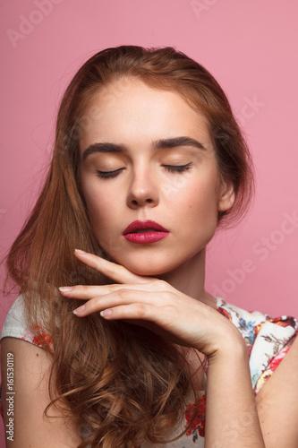 Fototapety, obrazy: Elegant woman with eyes closed