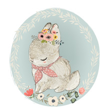 Cute Hare With Floral Wreath