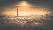 canvas print picture - Berliner Skyline am Morgen - Sonnenaufgang in Berlin