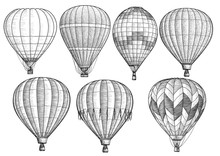 Hot Air Balloon Collection Illustration, Drawing, Engraving, Ink, Line Art, Vector