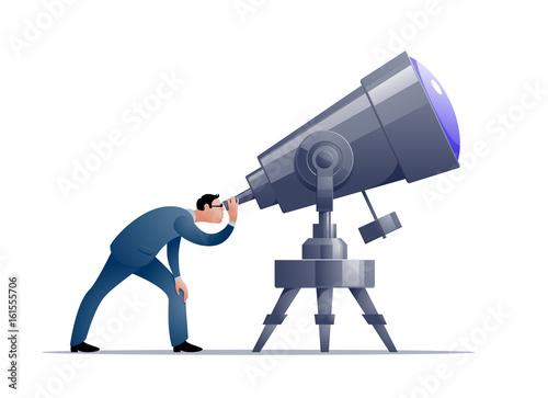 Vector cartoon astronomer looking through a telescope Canvas Print