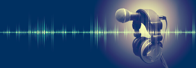 Studio microphone and sound waves.Sound engineering and karaoke background.Music and radio concept banner