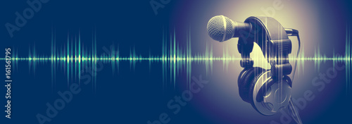 Studio microphone and sound waves Wallpaper Mural