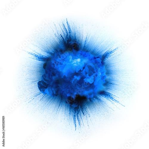 Fototapeta Blue explosion isolated on white background obraz