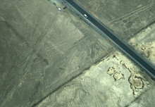 The Nazca Lines In Peru, Here You Can See The Lizard Which Has Its Tail Cut In Half By The Construction Of The Highway