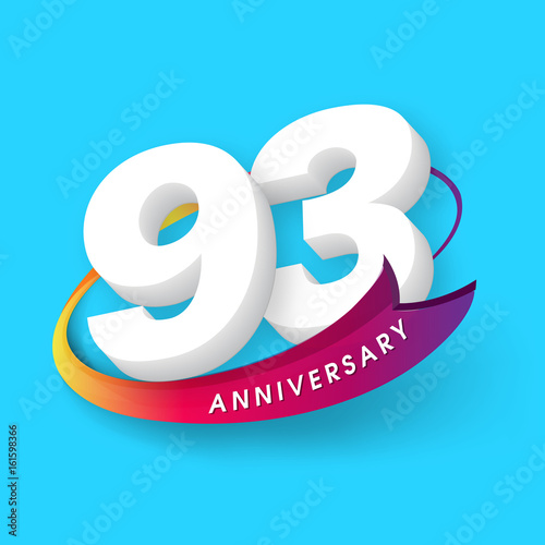 Fotografie, Obraz  Anniversary emblems 93 anniversary template design