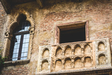 Balcony On The Facade Of The House Of Romeo And Juliet In Verona Italy