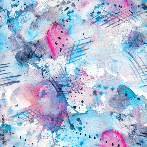 Zdjęcie XXL Streszczenie akwarela wzór z plamy splatter, linie, krople, plamy i serca