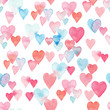 Seamless watercolor pattern with colorful hearts - pink, purple, blue tints.