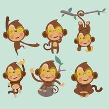 Set Of Cute Funny Monkeys In A Cartoon Style.