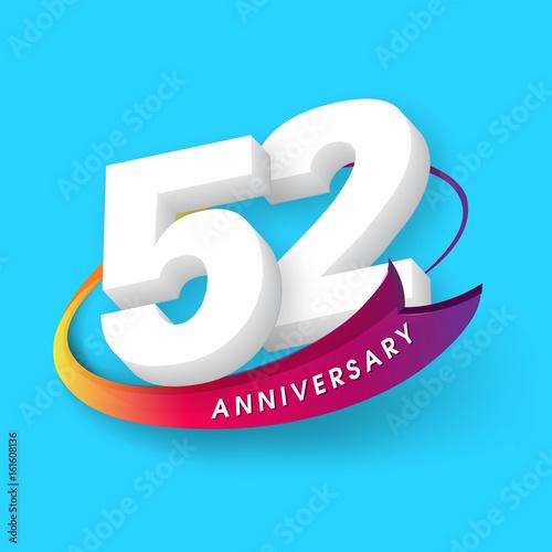 Poster  Anniversary emblems 52 anniversary template design