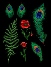 Fern, Feather Peacock And Poppy Flowers Embroidered Stickers. Embroidery Vector.