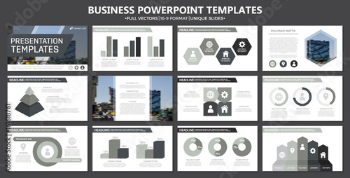 Fotografie, Obraz  Set of gray elements for multipurpose presentation template slides with graphs and charts