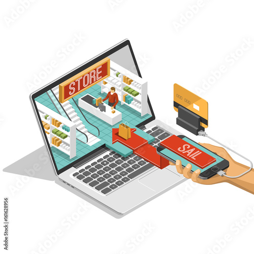 Fototapeta Online shopping isometric shadow illustration with mobile phone stores orders isolated vector illustration  obraz na płótnie