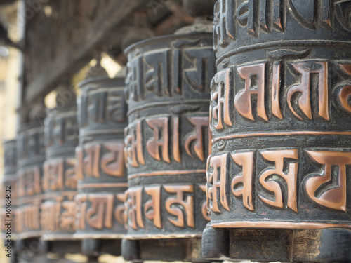 Staande foto Nepal prayer wheels