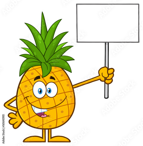 Talking Pineapple Fruit With Green Leafs Cartoon Mascot Character Holding A Blank Sign Illustration Isolated On White Background Buy This Stock Vector And Explore Similar Vectors At Adobe Stock Adobe Stock