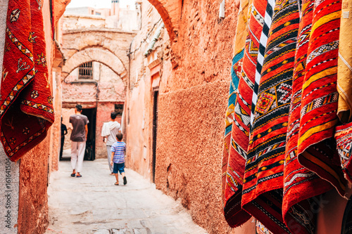 colorful street of marrakech medina, morocco