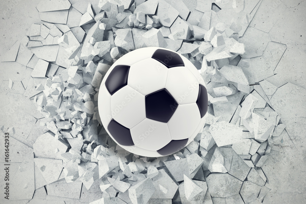 Fototapety, obrazy: Sport illustration with soccer ball coming in cracked wall. Cracked concrete earth abstract background. 3d rendering