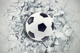 Fototapeta Młodzieżowe - Sport illustration with soccer ball coming in cracked wall. Cracked concrete earth abstract background. 3d rendering