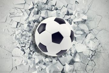 Sportowa ilustracja z piłki nożnej piłką przychodzi w krakingowej ścianie. Krakingowy betonowy ziemski abstrakcjonistyczny tło. Renderowania 3d