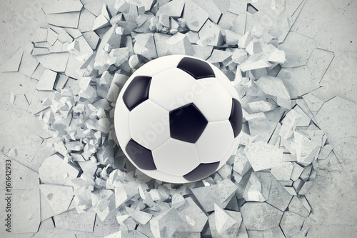 Fototapeta Sport illustration with soccer ball coming in cracked wall. Cracked concrete earth abstract background. 3d rendering obraz