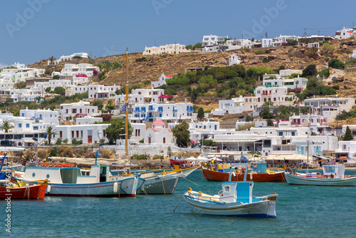 Printed kitchen splashbacks Athens View of Mykonos town harbor, a Greek island on the Aegean sea