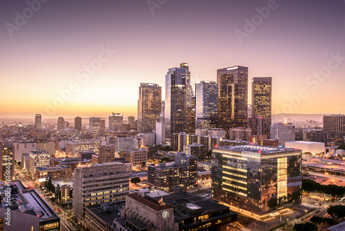 Photo  Downtown Skyline at Sunset. Los Angeles, California, USA