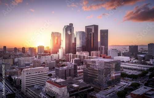 Downtown Skyline at Sunset. Los Angeles, California, USA