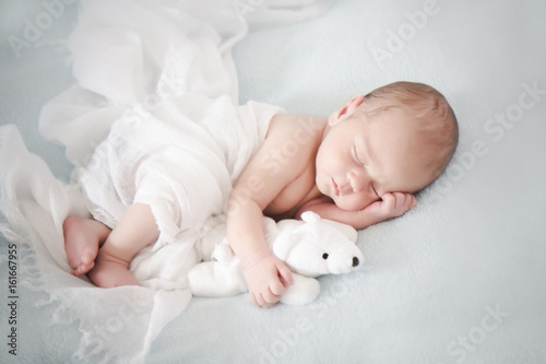Two weeks old baby to sleep with teddy bear