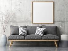 Poster With Retro Sofa, Minimalism Interior Concept, 3d Illustration