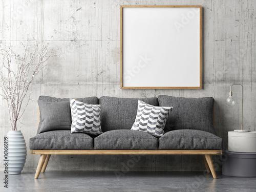 Fototapeta Poster with retro sofa, minimalism interior concept, 3d illustration obraz