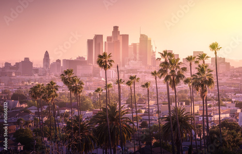 Fotobehang Amerikaanse Plekken Beautiful sunset of Los Angeles downtown skyline and palm trees in foreground