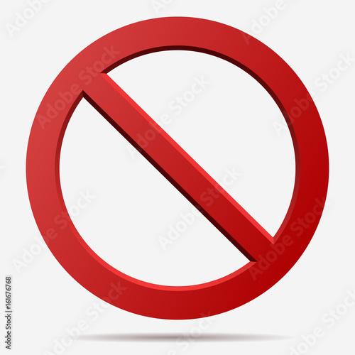 Red prohibition vector sign. Wallpaper Mural