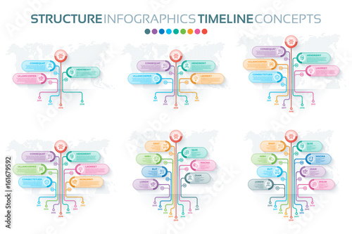 Fotografie, Obraz  Set of tree infographics templates with branches options and roo