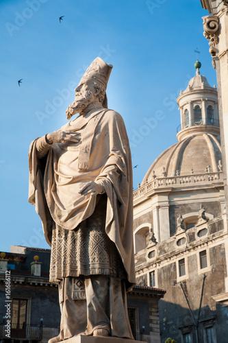 In de dag Monument Statues outside Saint Agatha Church in Catania, Sicily