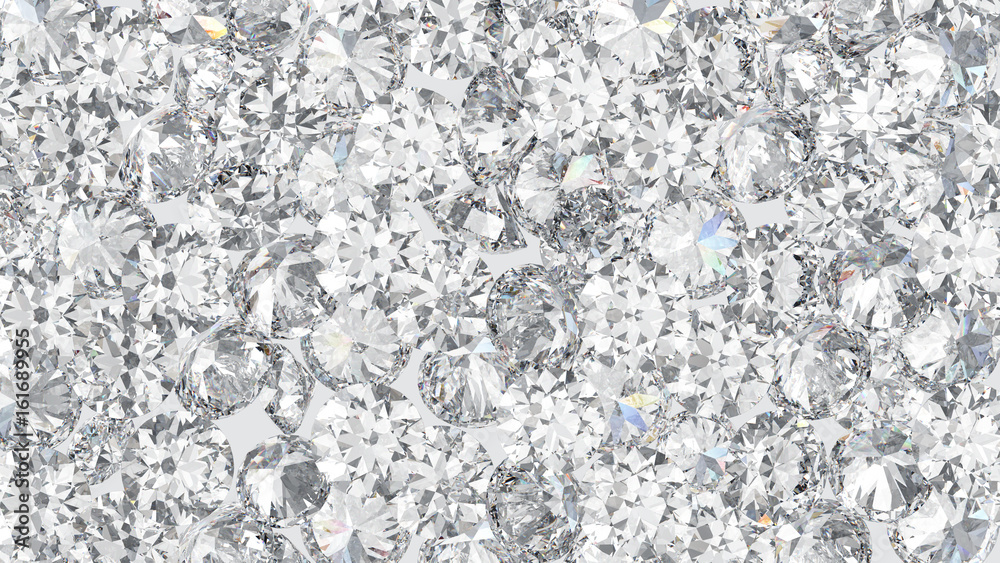 Fototapeta 3D illustration group of mane round diamond