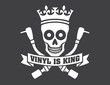Vinyl record DJ vector logo Vector disc jockey skull and cross bones design featuring turntable tonearms. Drop the needle.