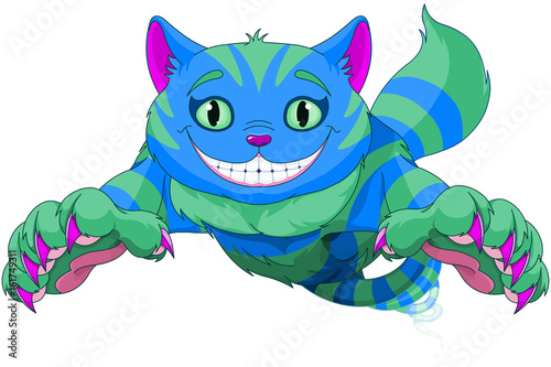Stickers pour porte Magie Cheshire Cat jumping