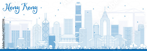 Photo  Outline Hong Kong Skyline with Blue Buildings.