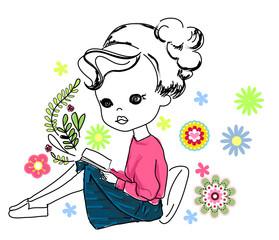 Sketch pretty girl reading book