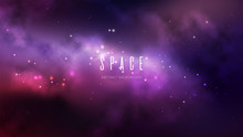 Vector Space Background With Colorful Nebula And Bright Stars.