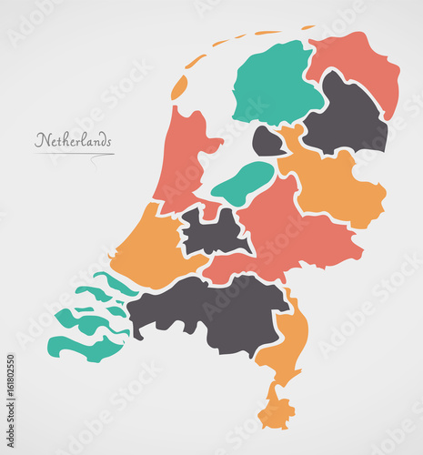 Canvas Print Netherlands Map with states and modern round shapes