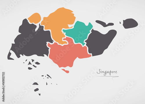 Photo  Singapore Map with states and modern round shapes